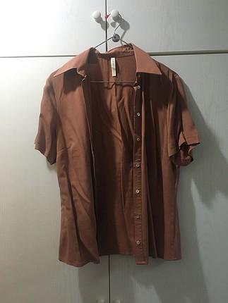 Kiremit rengi kısa kollu gömlek