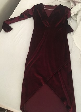 Kadife bordo elbise