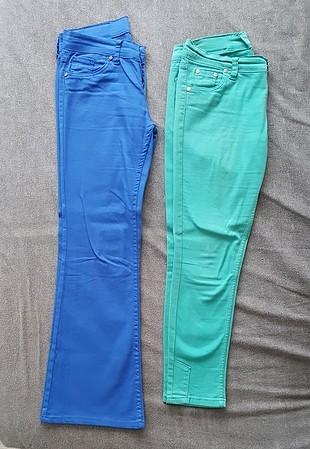 2 adet pantolon saks mavi bol paça keten
