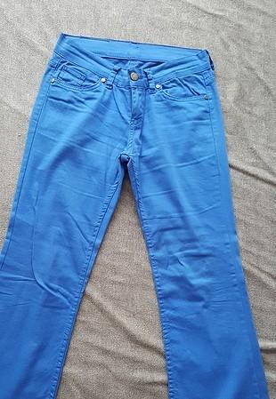 Mavi 2 adet pantolon saks mavi bol paça keten