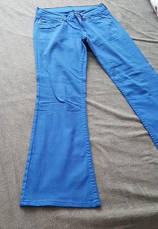 27 Beden 2 adet pantolon saks mavi bol paça keten