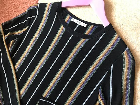 Mango Çizgili triko elbise