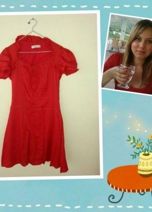 Chima Kırmızı Çan Kumaş Elbise