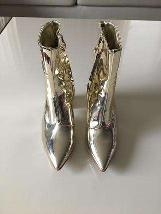 Pelinin ayakkabilari gold dore ayna topuklu bot