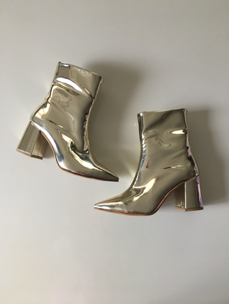 Diğer Pelinin ayakkabilari gold dore ayna topuklu bot
