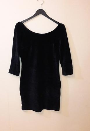 Siyah Kadife Elbise Aijek