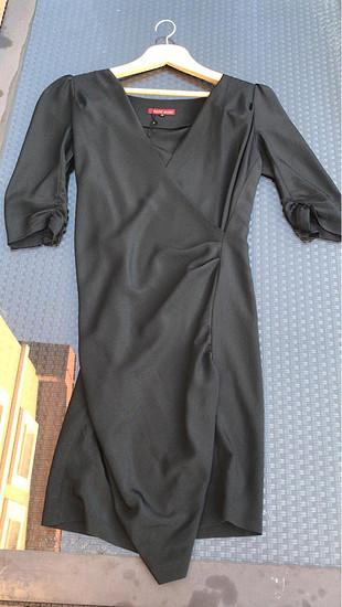 Siyah ipek Abiye midi elbise