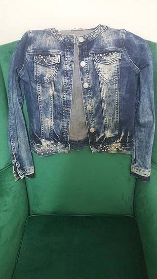 10-12 yaş taşlı kot ceket
