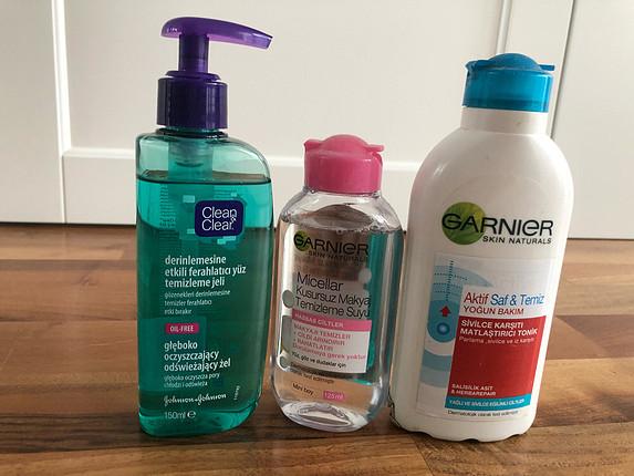 Garnier tonik ve makyaj temizleme suyu clean and clear yüz jeli
