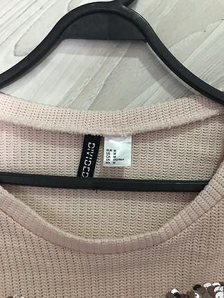 H&M Toz pembe payetli bluz