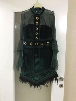 Raisa&vanessa; Yeşil Kadife Elbise