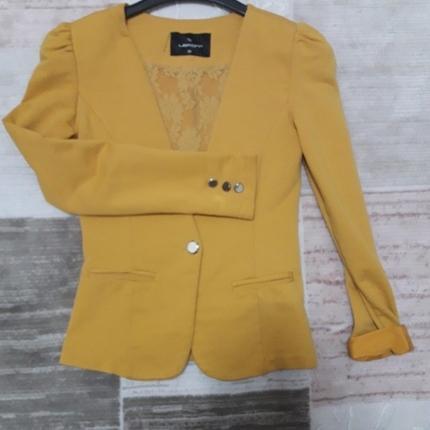 Hardal Sarısı Penye Blazer Ceket Blazer