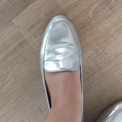 37 Beden gümüş Renk Babet ayakkabı