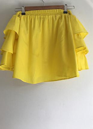 s Beden sarı Renk Omuz dekolteli bluz