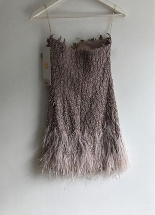 Designer Tüylü taşlı Elbise