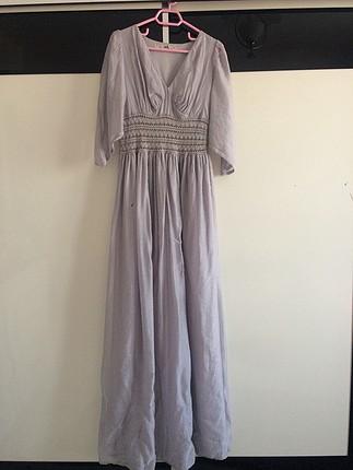 Uzun gri retro elbise