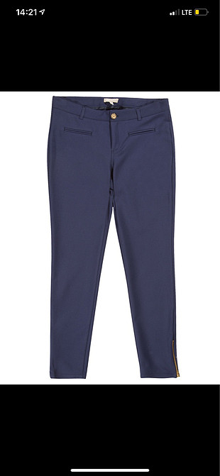 Twist mavi yüksek bel pantolon