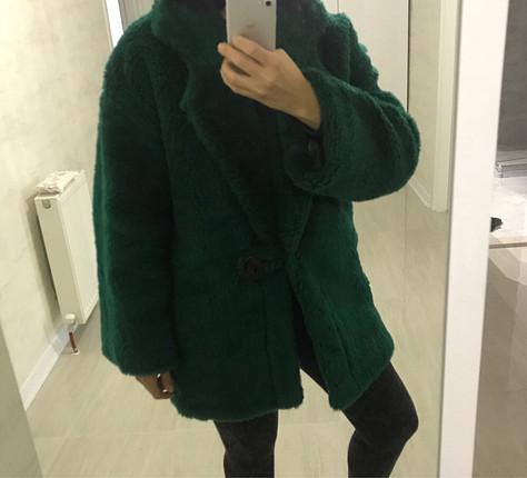 m Beden yeşil Renk Yeşil peluş kürk