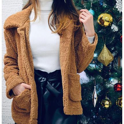 Kahverengi yünlü ceket