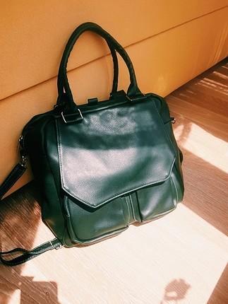 suni deri yeşil çanta