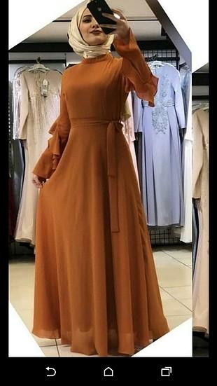 uzun şifon tesettür elbise