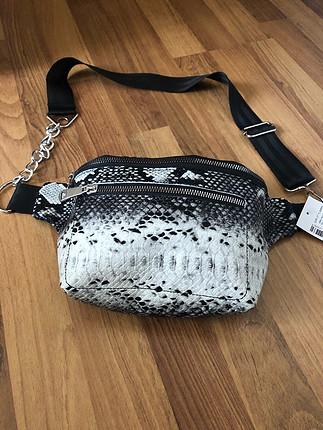 Yılan Derisi Desenli Bel çantası