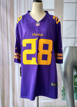 NIKE NFL RUGBY ON FIELD VIKINGS PETERSON 28 PURPLE YELLOW JERSEY
