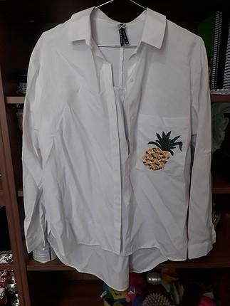 cebi ananas işlemeli beyaz gömlek