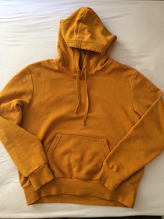 Hardal sarısı turuncu H&M sweatshirt sadece bir kere giyildi
