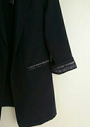 Tasarımcı siyah desenli ceket