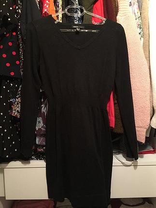Mango düz siyah elbise