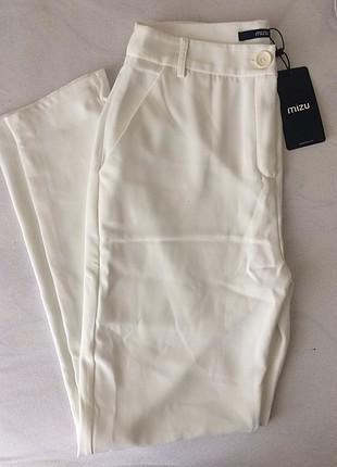 Mizu Beyaz Kumaş Pantalon