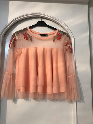Zara tül detaylı bluz