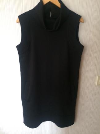 By Passo Plus Siyah Degaje Yaka Kışlık Mini Elbise Ofis stili
