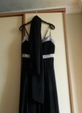 l Beden Siyah Uzun Abiye Elbise& Tül Şal