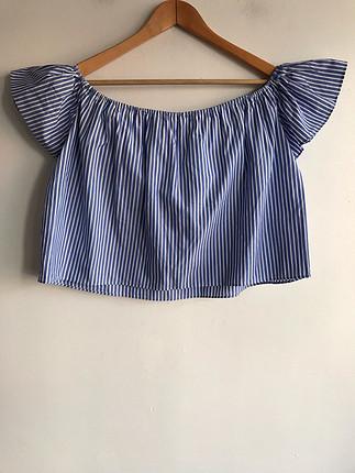 Zara Geniş yaka çizgili bluz