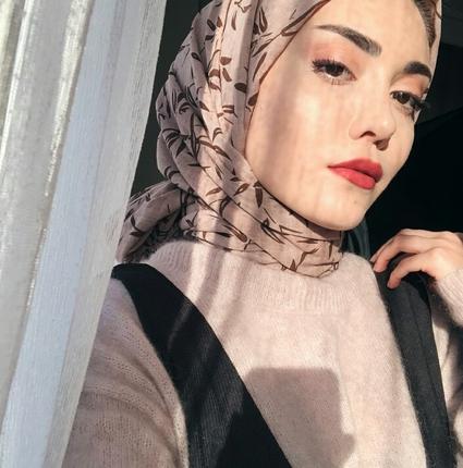 Bej Rengi Zeytindalı Desen Şal Afrodit