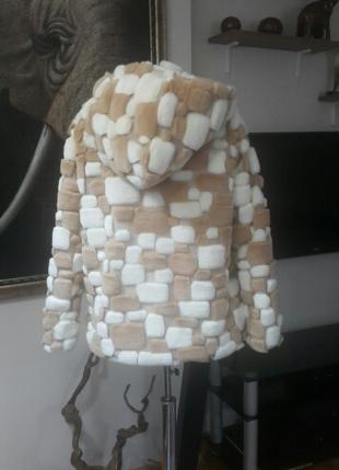 Tasarımcı peluş kabartmalı kışlık kaban