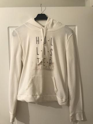 Beyaz İnce Logolu Hoodie Hollister