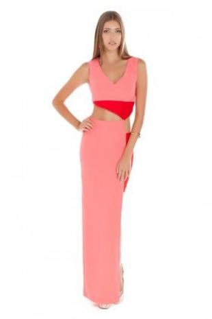 m Beden Gülnur güneş pembe kırmızı elbise