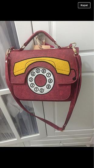 Telefon desenli çanta