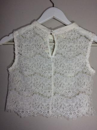 s Beden beyaz Renk Kısa dantel bluz