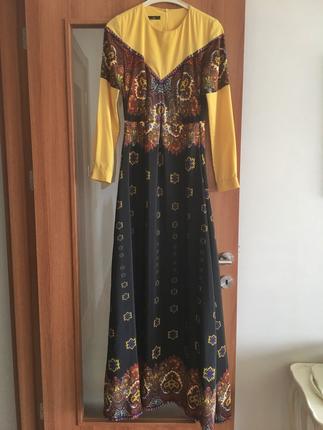 Muslima Wear Etnik Desenli Uzun Elbise Aker