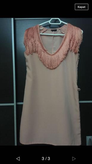 Somon Rengi Elbise Kısa elbise