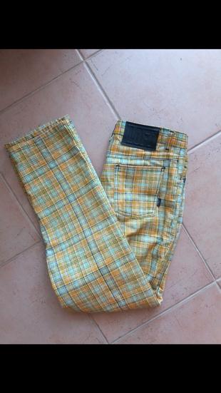 Vintage loft yuksek bel çizgili pantolon