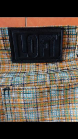 38 Beden Vintage loft yuksek bel çizgili pantolon