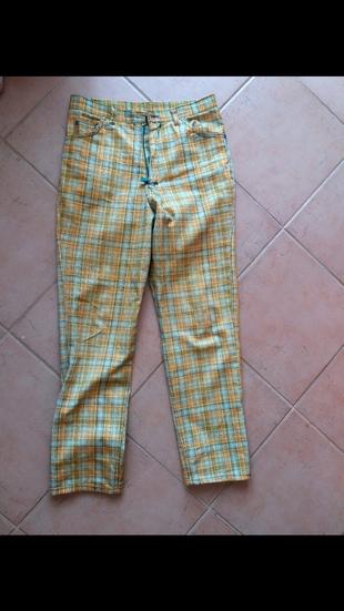 38 Beden sarı Renk Vintage loft yuksek bel çizgili pantolon