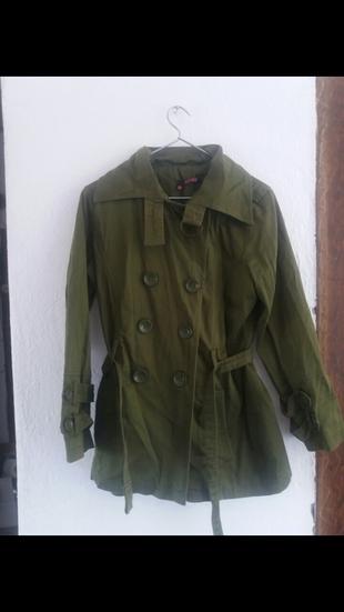 asker yeşili trenckot