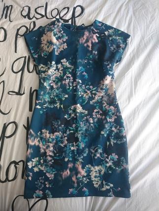 dalgıç kumaş petrol mavi çiçekli elbise