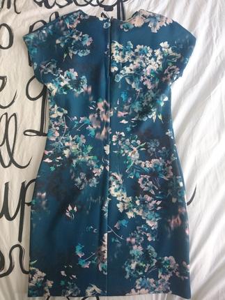 Mango dalgıç kumaş petrol mavi çiçekli elbise